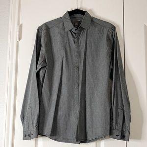 H&M Dark Grey and White Long Sleeve Dress Shirt